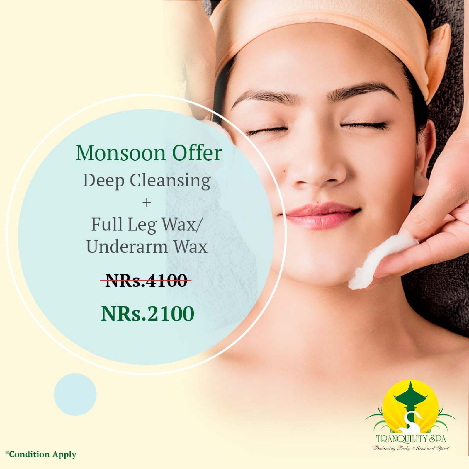 (Deep Cleansing + Full Leg Wax + Underarm Wax) only @Rs 2100 till 17th of September