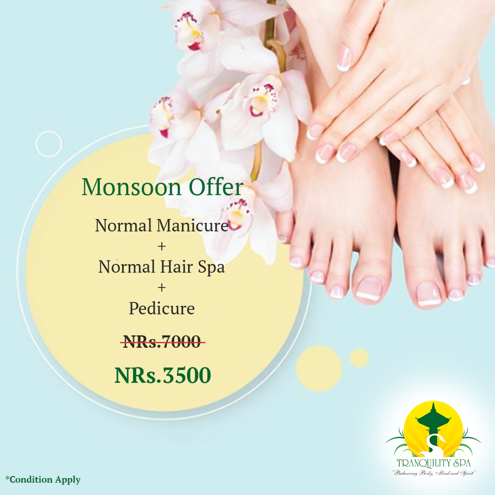 (Normal manicure + Pedicure + Normal Hair Spa) only @Rs 3500 till 17th of September